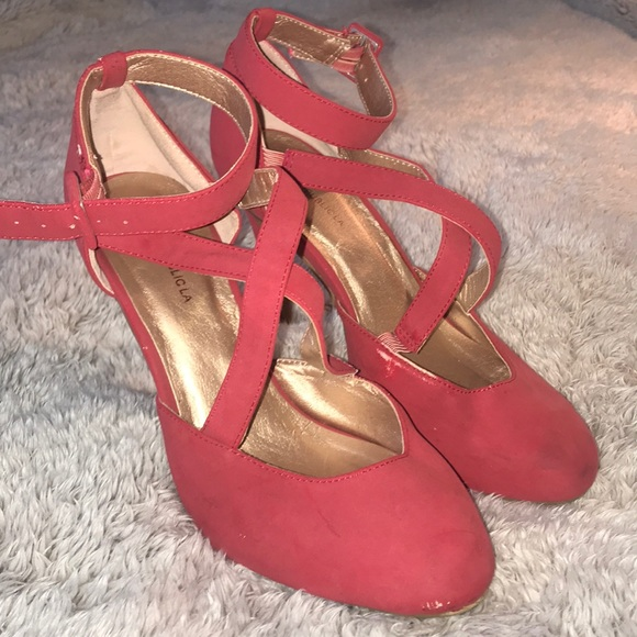 red strappy heels 3 inch
